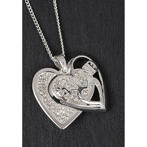Silver Plated Sparkle Heart Necklace: Friend