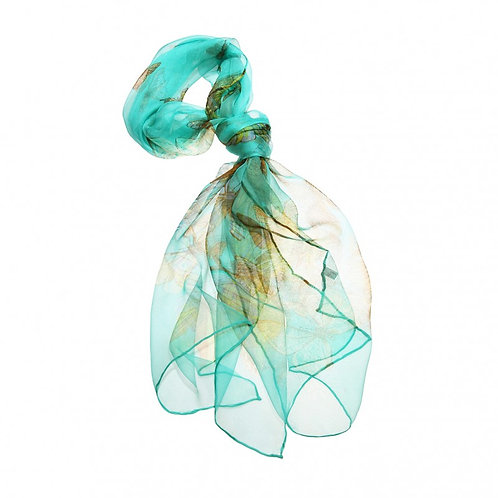 Luxurious Silk Butterfly Scarf: Aqua