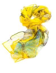 Luxurious Silk Butterfly Scarf: Yellow
