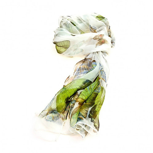 Luxurious Silk Butterfly Scarf: White
