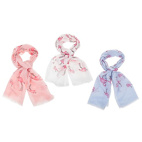 Tropical Flamingo Scarf: Blue