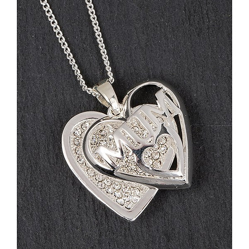 Silver Plated Sparkle Heart Necklace: Mum