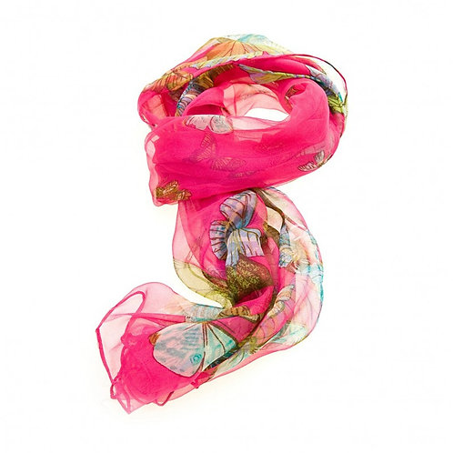 Luxurious Silk Butterfly Scarf: Fuchsia