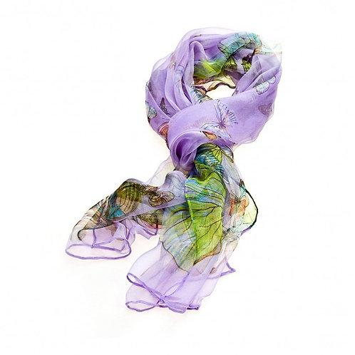Luxurious Silk Butterfly Scarf: Purple