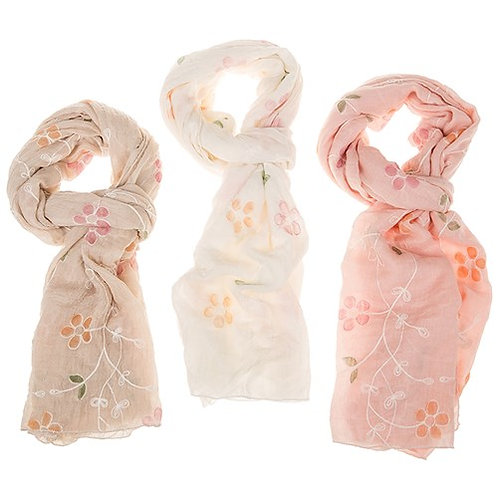Embroidered Flower Scarf: Cream