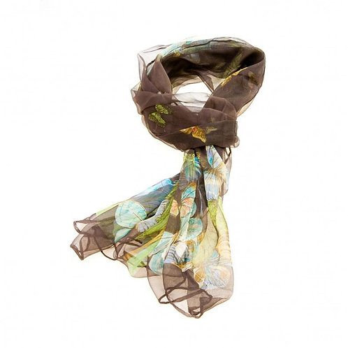 Luxurious Silk Butterfly Scarf: Brown