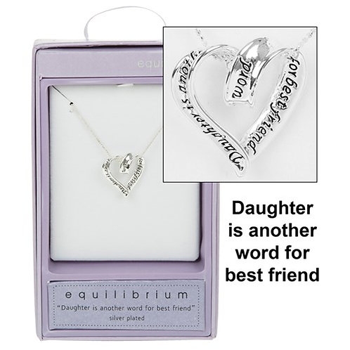 Silver Plated Coiled Heart Necklace: Daughter