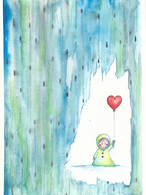 Kaartje zonder tekst, figuurtje met hart-ballon