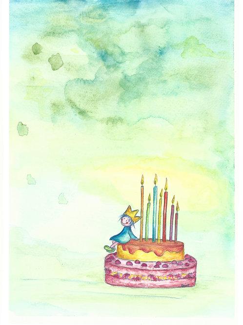 kaartje zonder tekst, jarige op verjaardagstaart