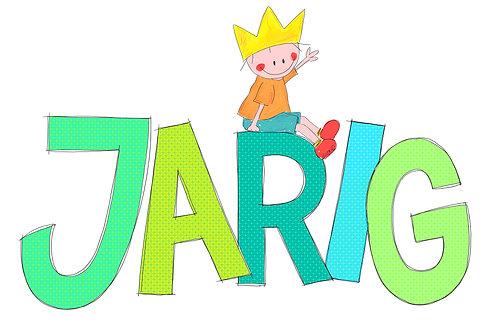 Jarig (Rube met kroon op grote letters)