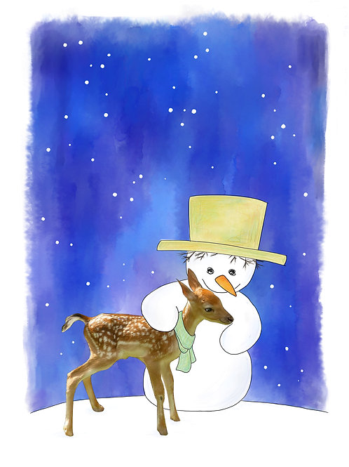 Hertje en sneeuwman (zonder tekst)