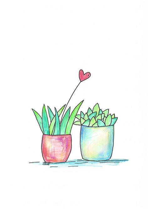 wenskaart zonder tekst, plantjes en hartje