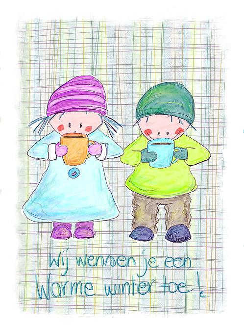 Wij wensen je een warme winter toe (Rube en Rutje met mutsen en warme drank)
