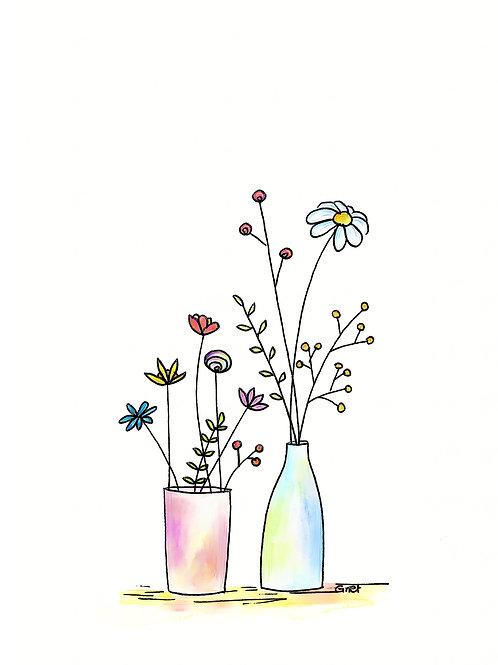 Kaartje zonder tekst, vaasjes met bloemen