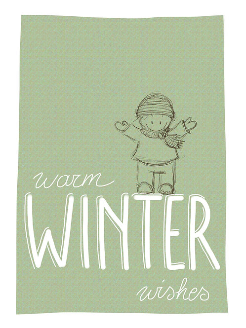warm winter wishes (Rube met muts en sjaal)