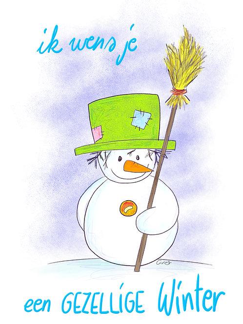 Ik wens je een gezellige winter (sneeuwman)