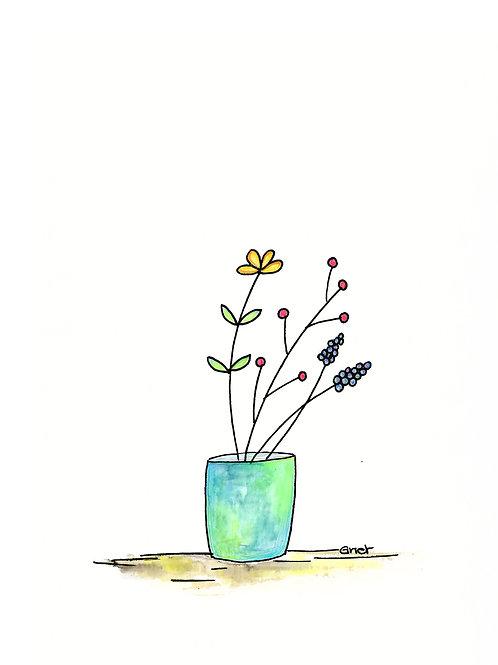 kaartje zonder tekst, bloemen in pot
