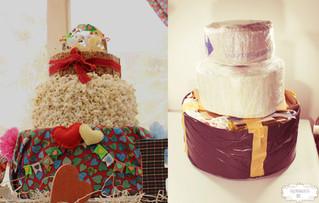 Bolo Fake feito com material reciclável - Decoração Festa Junina