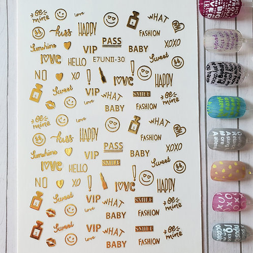 3D Nail Art Stickers Decals Gold #68