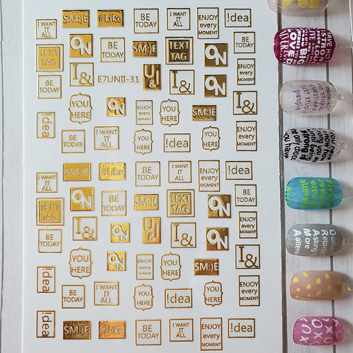 3D Nail Art Stickers Decals Gold #69