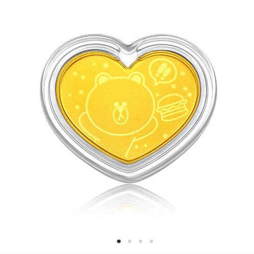 LINE FRIENDS 999.9 Gold 黃金金章掛飾