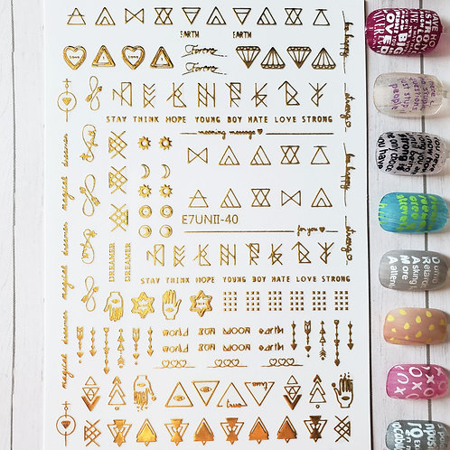 3D Nail Art Stickers Decals Gold #78