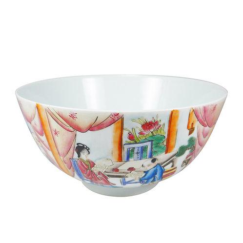 Antique 三娘教子粉彩大碗 古董