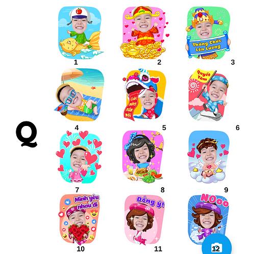 Cute Series Template Q1-Q12 人像DIY產品素材 Q1-Q12 (1 piece/1 order)