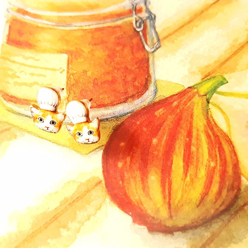 EARRINGS 耳環 廚師貓 Kitchen Cat