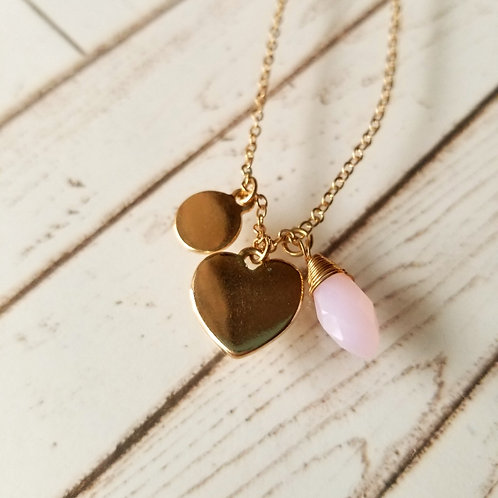 NECKLACE Pink Crystal Heart 粉紅色愛心項鍊