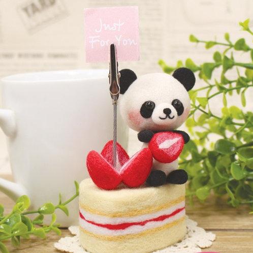 DIY- 國寶小熊貓草莓蛋糕便條夾 (套裝包) DIY Strawberry Panda (Package)