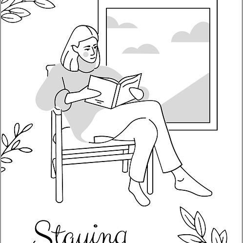 FREE Coloring Page -  Staying Home 免費顏色紙 - 宅在家