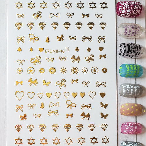 3D Nail Art Stickers Decals Gold #84