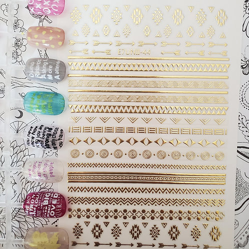3D Nail Art Stickers Decals Gold #82
