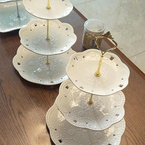 3層白色陶瓷碟一套 White Elegant 3-storey Plates (1 Set)