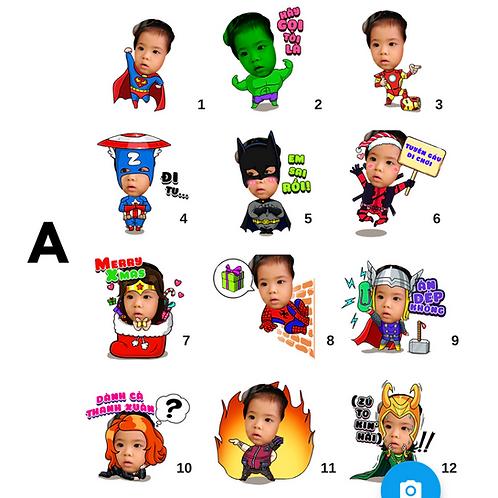 Cute Series Template A1-A12 人像DIY產品素材A1-A12 (1 piece/1 order)