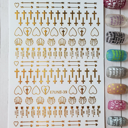 3D Nail Art Stickers Decals Gold #77