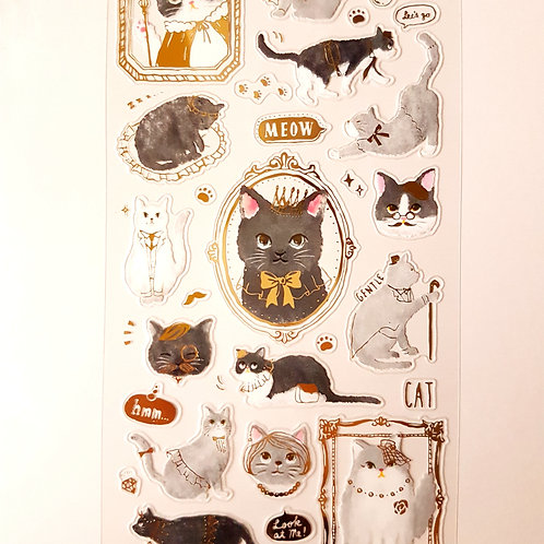 STICKERS - Golden Plated Cat 燙金貼紙 可愛貓咪