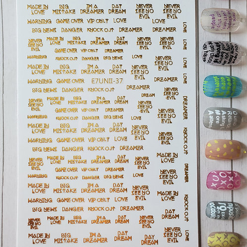 3D Nail Art Stickers Decals Gold #75
