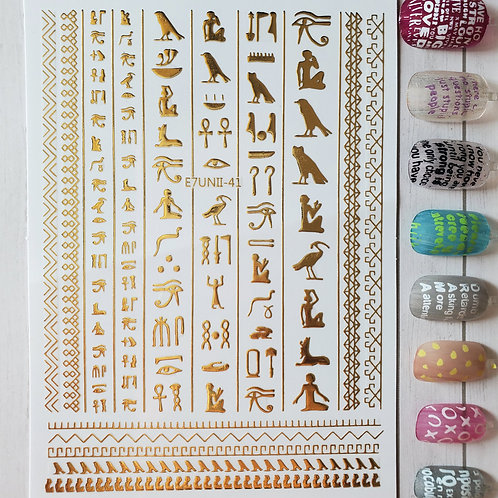 3D Nail Art Stickers Decals Gold #79