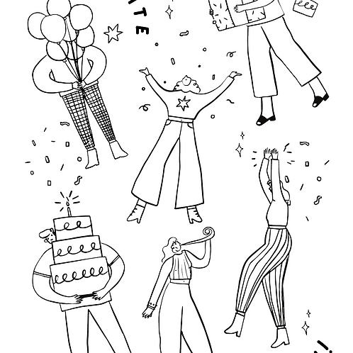 FREE Coloring Page -  Birthday Party 免費顏色紙 - 生日會