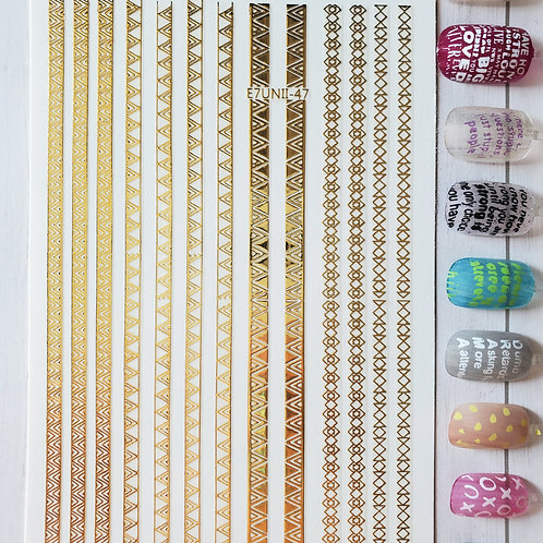 3D Nail Art Stickers Decals Gold #85