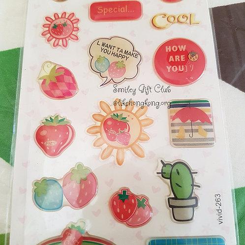 STICKERS -Strawberry 水晶貼紙 - 草莓