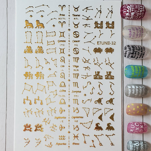 3D Nail Art Stickers Decals Gold #70