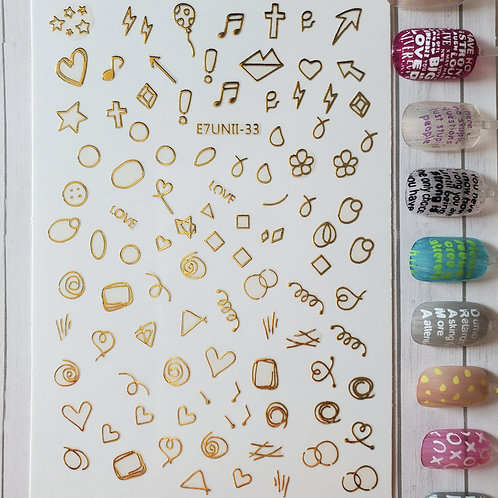 3D Nail Art Stickers Decals Gold #71