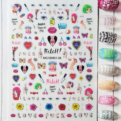3D Nail Art Stickers Decals #93