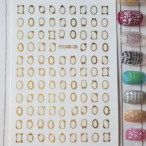 3D Nail Art Stickers Decals Gold #66