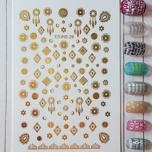 3D Nail Art Stickers Decals Gold #67
