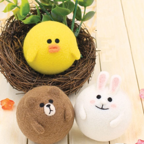 DIY- 圓滾滾熊大、兔兔、莎莉鎖匙扣 (套裝包) DIY Round Brown, Rabbit & Sally (Package)