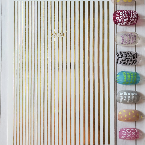 3D Nail Art Stickers Decals Gold #109